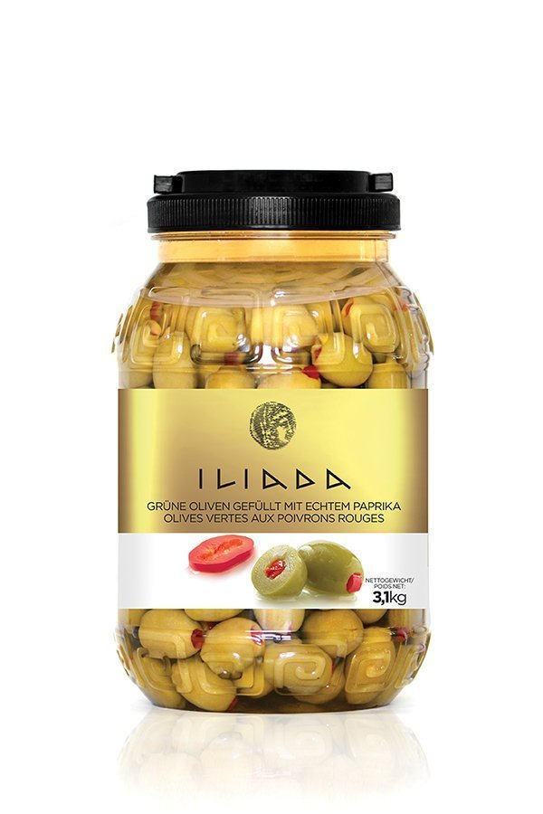 ILIADA Green Olives Stuffed with Pepper HO.RE.CA