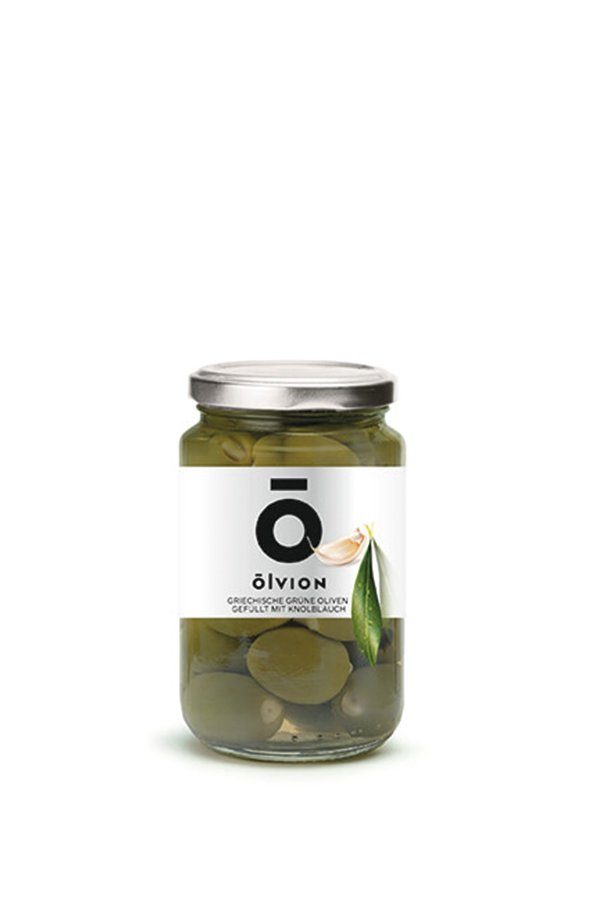 OLVION Green Olives Stuffed with Garlic