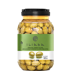 ILIADA Emerald Organic Green Olives HO.RE.CA